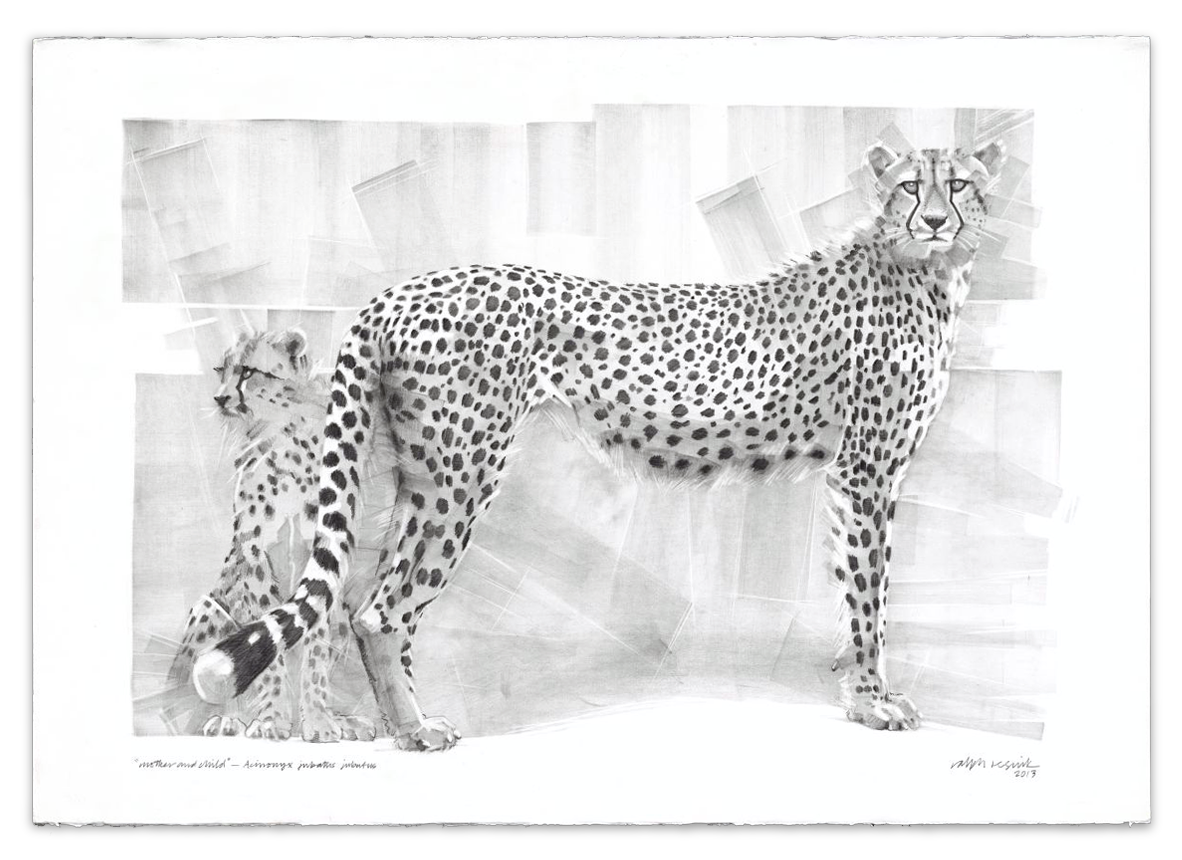 """Mother and Child"" – FOR SALE Pencil painting on acid-free paper; 1010 mm x 720 mm by Ralph Resnik Wildlife Artist"