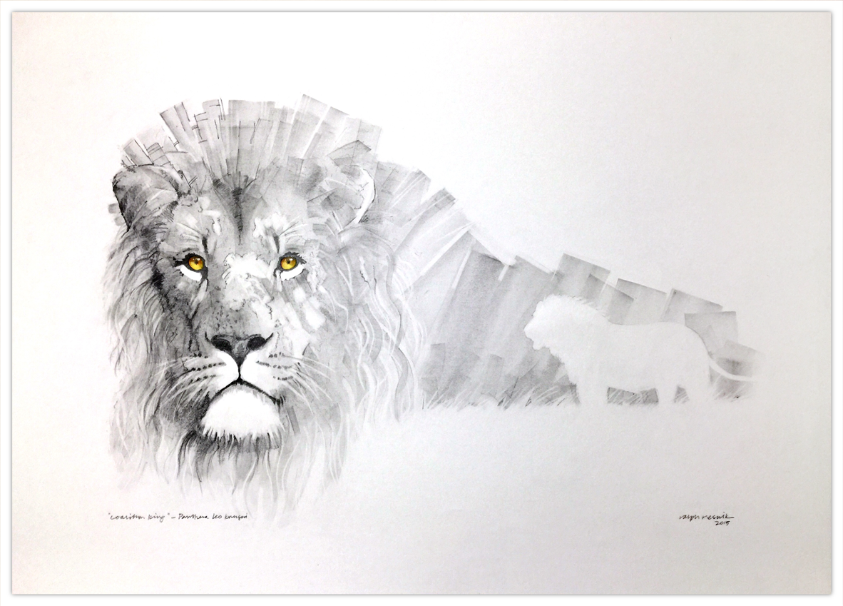 """""""coalition king"""" – FOR SALE Pencil painting, with tea, watercolor and acrylic on acid-free paper;"""