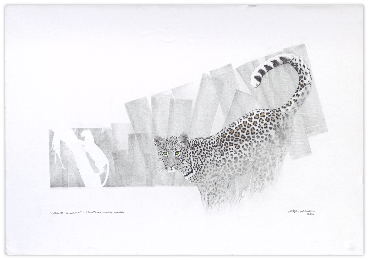 """""""silent hunter"""" – FOR SALE Pencil painting, watercolor and acrylic on acid-free paper; 1000 mm x 700 mm"""